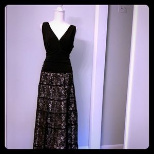 Stunning v-neck black jersey and lace gown!